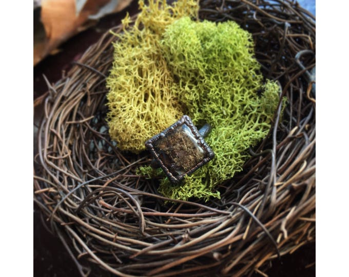 Lichen covered bark resin crystal ring - Square Nature Gem ring- copper nature gemstone ring
