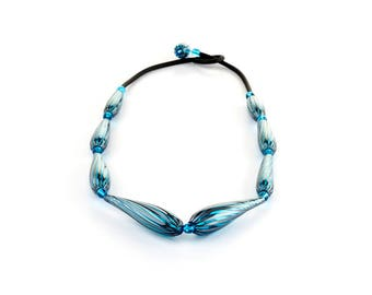 "Murano Glass Blown Necklace ""TANTAK"", Handmade Glass Jewel, 9 Murano Glass Beads, Venetian Roll-Up Tecnique by JoGa Glass"