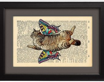 DICTIONARY Print, Art Print Poster, Cat fly, Cat Butterfly, Book Pages, Funny poster, Home Decor, DORM decor, Gift, Wall Art decor, CODE/090
