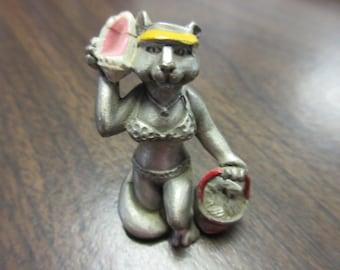 Signed Hudson Pewter Cat Figure