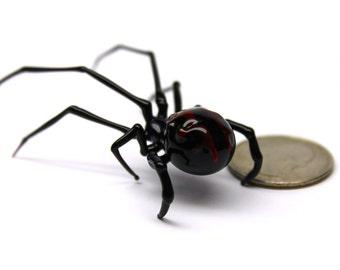 Art Glass black Widow Figurine, Blown Glass Spider, , hand blown glasses, BLACK WIDOW, Spider Charms