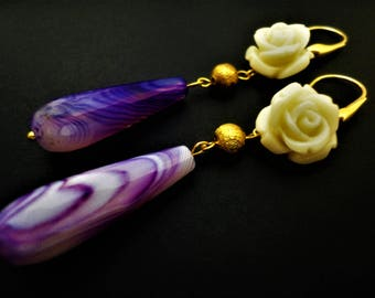 Purple Earrings with Rose Flower. Agate Earrings. Flower Earrings. Rose Earrings. Purple Earrings. White Rose Earrings Gold Earrings Wedding