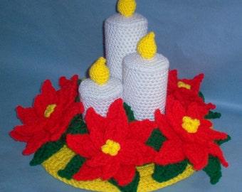 Crochet Poinsettias and 3 Candles-Crochet Pattern, Christmas patterns, crochet candles, crochet flowers