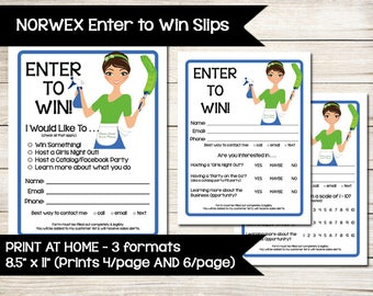 NORWEX   Enter to Win   Raffle Ticket   Drawing Slip   Door Prize Form   Guest Survey   Contest Entry Sheet   Vendor Shows   Direct Sales