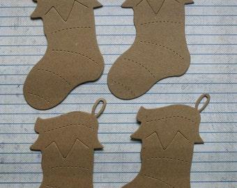 4 Bare chipboard die cuts Christmas Stocking Diecuts