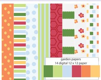 Gardening Garden Digital Paper Set - Instant download PNG files - 12 x 12 paper