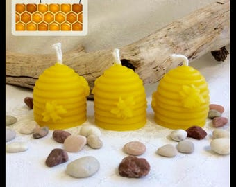 Pure Beeswax Candle - small skep - pack of 3 candles