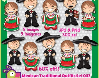60% off Mexican Outfits Clipart China Poblana and Charro, Mexico clipart kids, kindergarten images, kids illustrations, fiesta, set 037