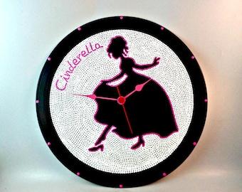 Cinderella, Wall clock, Disney princess, Vinyl clock, Disney art, Wall art, Children's gift, Nursery gift, MiniDotClocks