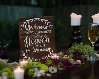 We Know You Would Be Here Today If Heaven Wasn't So Far Away- Heaven Wasn't So Far Away Sign- Memorial Sign for Wedding- Memory Table Sign