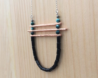 the Kirsten necklace in teal magnesite and onyx with copper bars | sterling silver chain | statement necklace | gift for her