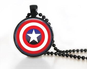 Captain America Logo Symbol DC Glass Pendant, Photo Glass Necklace, Glass Keychain