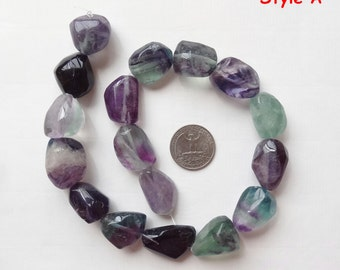 Large Colorful Rainbow Fluorite Tumble Nuggets One Full Strand N1866