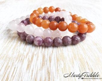 Rose Quartz Lepidolite Aventurine Bracelet Stack, Mala Beads, Gemstone Bracelets, Healing Crystal Bracelet, Pink Purple Orange Bracelets