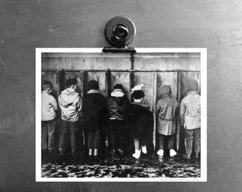 Bathroom Art, the Boys Room a copy of an old Black & White Photograph for Man Caves and Bathroom Wall Art Everywhere. Aim and Shut Lid.