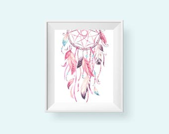 Pink Dreamcatcher Print, Printable Boho Nursery Art, Girls Feather Tribal Wall Decor Bohemian Watercolor 8x10 Instant Download