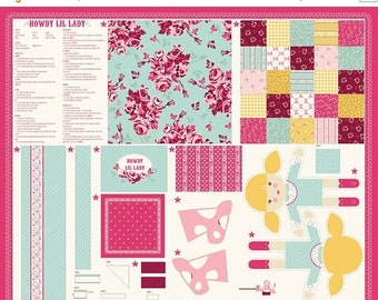20% off thru Apr 24th HOWDY cowgirl-panel Moda fabric makes  doll, stick horse, pillow, blanket/quilt 20550-11