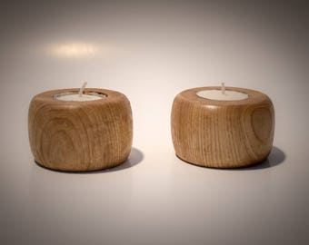 Shagbark Hickory Tea Light Candle Holders (Set of 2)