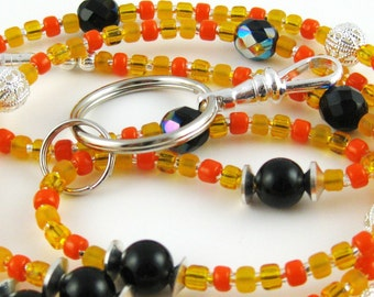 Back to School Orange and Black Czech Crystal and Pearl Lanyard Perfect for ID Badges Glasses Whatever You Desire