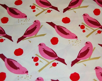 Alexander Henry Pink Bird Seed Vintage Retro Cotton Fabric 1/2 yard Half Yard OOP Out of Print Hard To Find RARE yardage