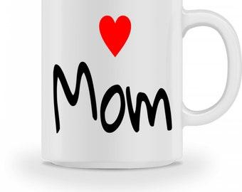 Keramiktasse -  Love Mom - Muttertag Geschenkidee Kaffeebecher mit Spruch