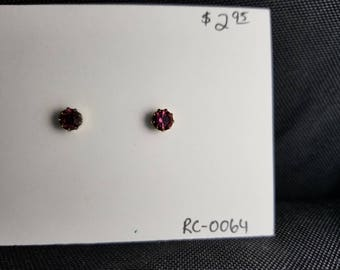 Earrings- red rhinestone studs