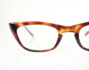 1960s Cat Eye Glasses Tortoiseshell Amber 60s Sixties Mid Century Modern Womens Ladies Cateye Pip Up Sexy Librarian Classic Chic USA