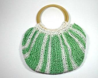 Crochet Green and White Striped Handbag, Crochet Purse, Wooden Handled Bag, Round Handled Bag, Crochet Handbag, Striped Handbag, String Bag