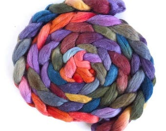 Polwarth/Silk Roving - Handpainted Spinning or Felting Fiber, Radiant Quiet