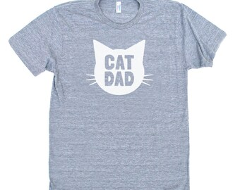 Cat Dad TriBlend Heather Grey TShirt with White print - Family Photos, Gift for Dad, Gift for Him, Cat Guy, Cat Person, Cat Lady