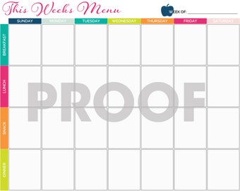Meal Planning Calendar Printable - INSTANT DOWNLOAD