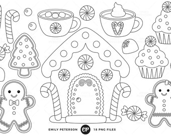 50% OFF SALE! Gingerbread Man Digital Stamps, Christmas Line Art, Gingerbread Cookie Clip Art - Commercial Use, Instant Download
