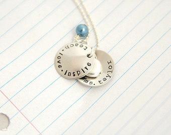Teacher Gift - Graduation Gift - Teacher Necklace - Thank You Gift - Gift for Teachers - Personalized Teacher Gift - Teacher Jewelry - Teach