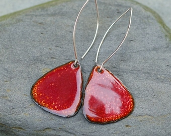 Enamel Earrings, Large Copper Rounded Triangles, Enameled Jewelry Sun Red