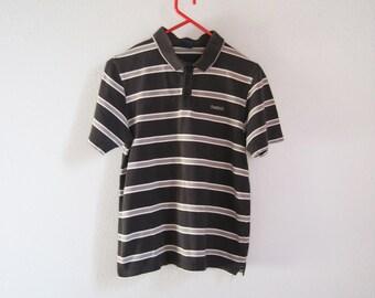 VINTAGE REEBOK Cute Preppy Black Gray Striped Polo Shirt - Size S / Junior