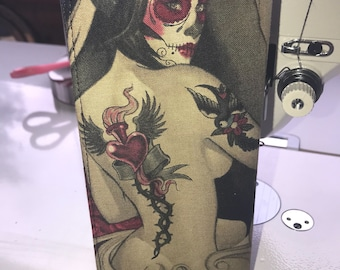 Day of the Dead Sugar Skull Pinup Girl Roses Tattoo  Wallet