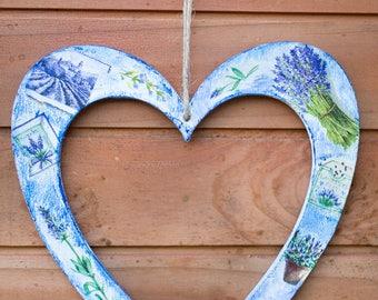 Lavender decoupaged heart, Wooden handmade wall decoration,  Handmade hanging heart, Blue wooden heart wall decoration