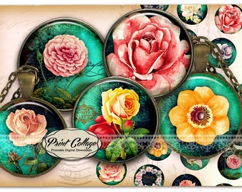 Cabochon images Garden flowers - Digital Collage Sheet 1.5 inch 16 mm 12 mm 1 inch circle Printable images Instant download bottle caps C248