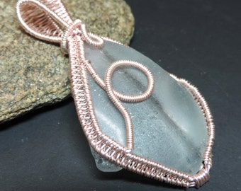 Genuine GREY SEAGLASS hand made wire wrapped pendant in rose gold wire A11
