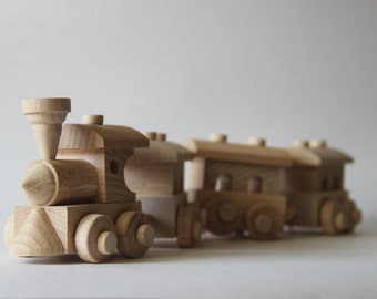 """Wooden train toy """"Train and three cars"""" ,children toy, eco friendly toy, retro train, pull toys,"""