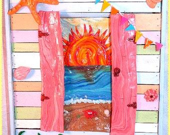 Beach hut, Beach hut art, seaside, summer, home decor, art, frame