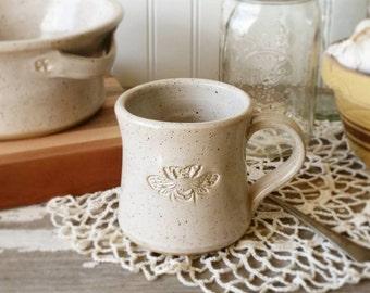 Bee Mug - Handmade Pottery Bee Mug - White Bee Mug - Tea Cup - Stoneware Mug - Coffee Cup - MADE TO ORDER!