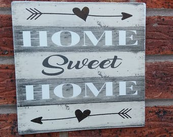 Home sweet home house warming gift wooden sign plaque