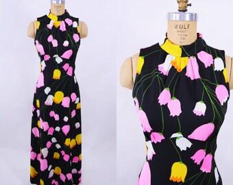 "1960s maxi dress   black pink tulip print empire bust dress   vintage 60s dress   W 27"""