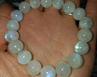 10mm round Aaa moonstone beaded bracelet