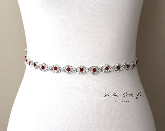 Red Bridal Belt, Rhinestone Bridal Belt, bridesmaid belt, Bridal Sash, Wedding Belt, Wedding Sash Rhinestone Sash B19S RED