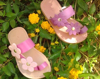 Girls' Sandals with Flowers - Handmade Greek Leather Sandals - Kids Summer Sandals - Summer Shoes