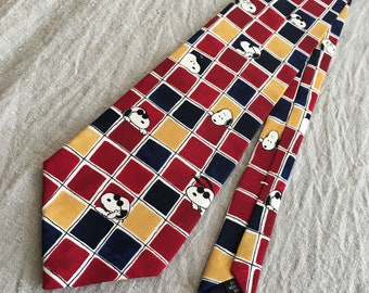 Vintage Peanuts Snoopy Necktie / Unique Cartoon Character Tie / Cool Joe / Tic Tac Joe / Imported Silk / Collectible Casual Dad Gift Schultz