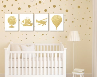 Nursery Decor - Travel Theme Nursery - Travel Nursery Decor - Baby Shower - Vintage Map Prints - Nursery Wall Art - Hot Air Balloon Nursery