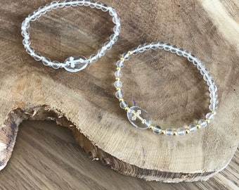 Rock crystal and 925 sterling silver cross bracelet or gold filled